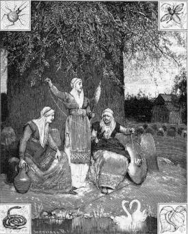 The Norns spin their tapestry at the roots of ...